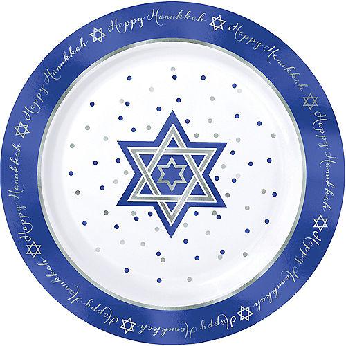 Happy Hanukkah Premium Plastic Dinner Plates 10ct Image #1