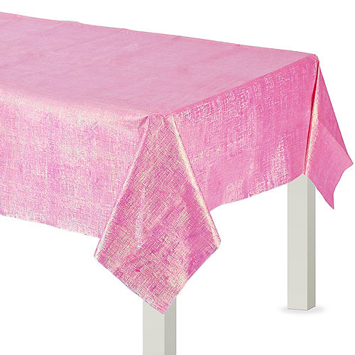 Bright Pink Iridescent Paper & Plastic Table Cover, 54in x 102in Image #1