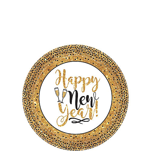 Gold Glitter New Year's Dessert Plates 18ct Image #1