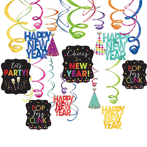 Colorful New Year's Swirl Decorations 30ct Image #1