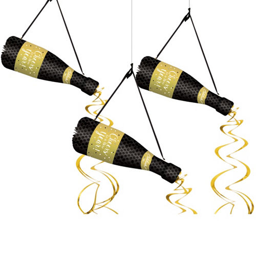 Champagne Bottle New Year's Honeycomb Decorations 3ct Image #1