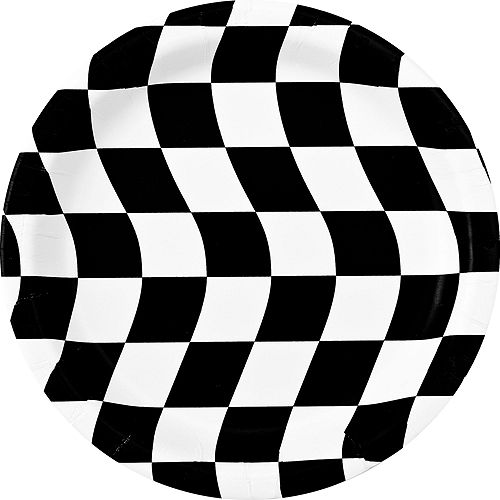 Black & White Checkered Super Tableware Kit for 16 Guests Image #2