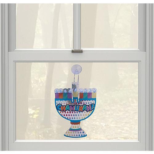 Light-Up LED Menorah Window Decoration Image #1