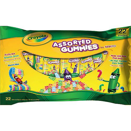 Crayola Assorted Gummies Candy Pouches 22ct Image #1