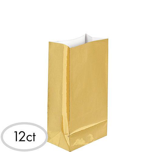 Medium Metallic Gold Paper Treat Bags 12ct Image #1