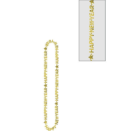 Gold Happy New Year Bead Necklace Image #1