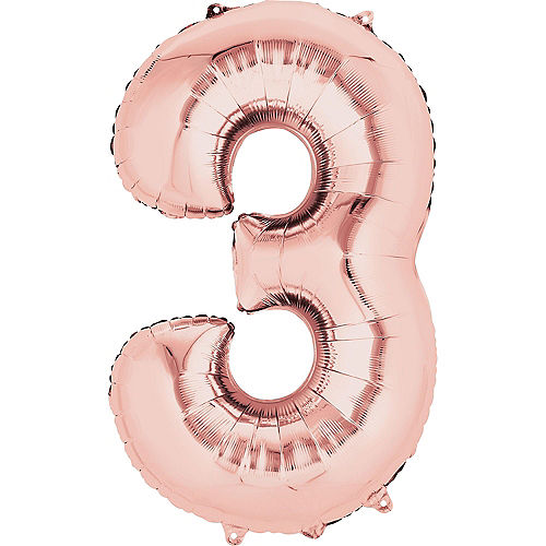 34in Rose Gold Number Balloon (3) Image #1