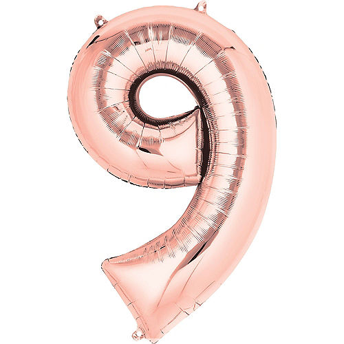 34in Rose Gold Number Balloon (9) Image #1