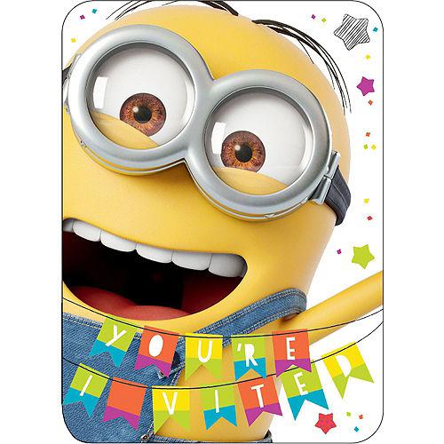 Premium 3D Despicable Me Minion Invitations 8ct Image #1