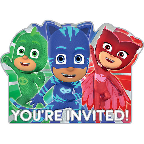 Premium PJ Masks Invitations 8ct Image #1