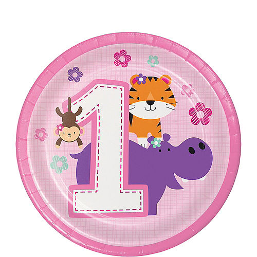 Pink One is Fun 1st Birthday Dessert Plates 8ct Image #1