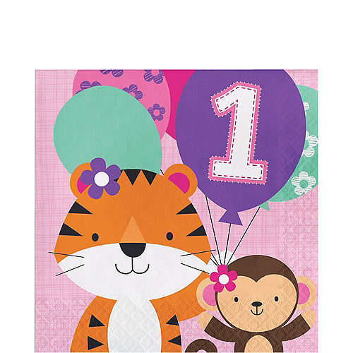 Pink One is Fun 1st Birthday Lunch Napkins 16ct Image #1