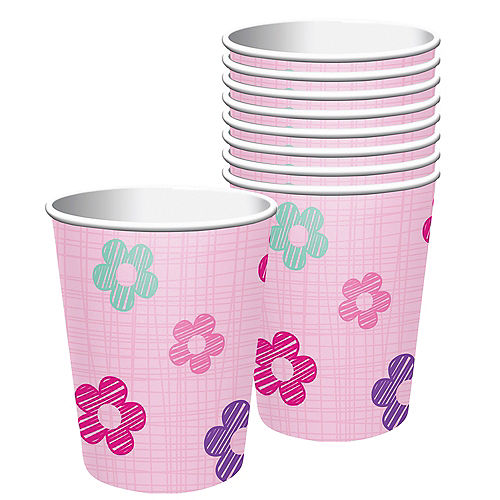 Pink Flower Cups 8ct Image #1