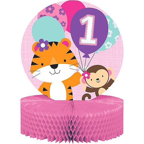 Nav Item for Pink One is Fun 1st Birthday Honeycomb Centerpiece Image #1