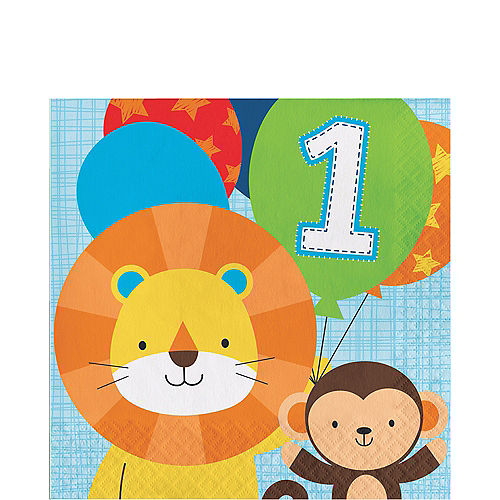 Blue One is Fun 1st Birthday Lunch Napkins 16ct Image #1