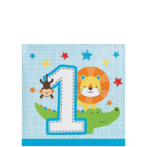 Blue One is Fun 1st Birthday Beverage Napkins 16ct Image #1