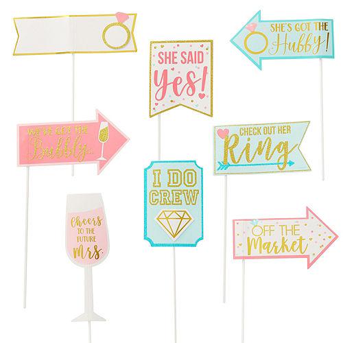 Sparkling Pink Bridal Shower Photo Booth Kit 21pc Image #1