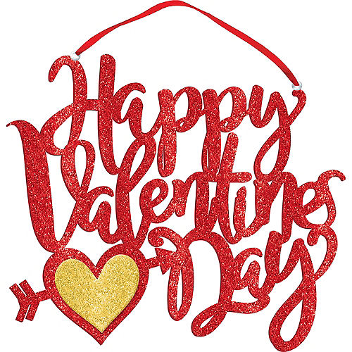 Glitter Red Happy Valentine's Day Sign Image #1