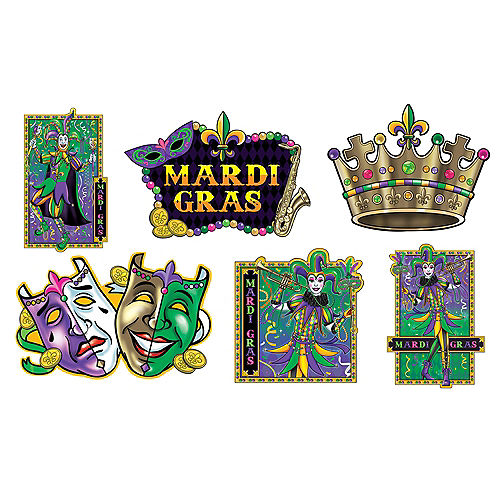 Jumbo Mardi Gras Cutouts 6ct Image #1