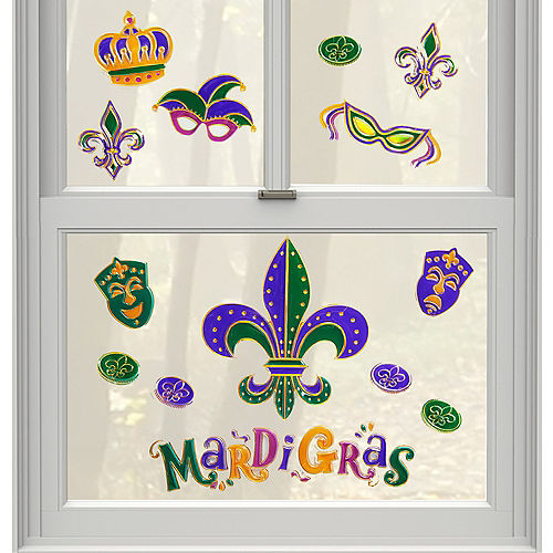 Mardi Gras Cling Decals 14ct Image #1