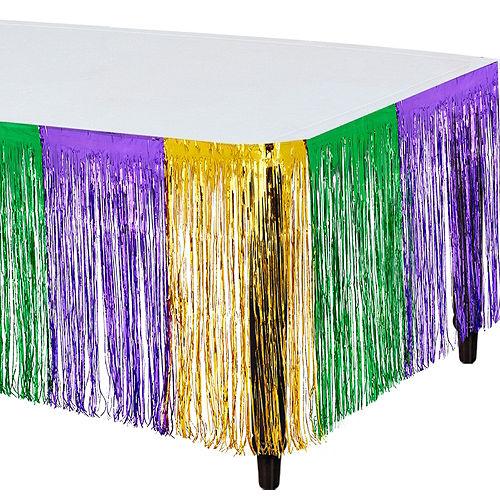 Metallic Mardi Gras Table Skirt Image #1