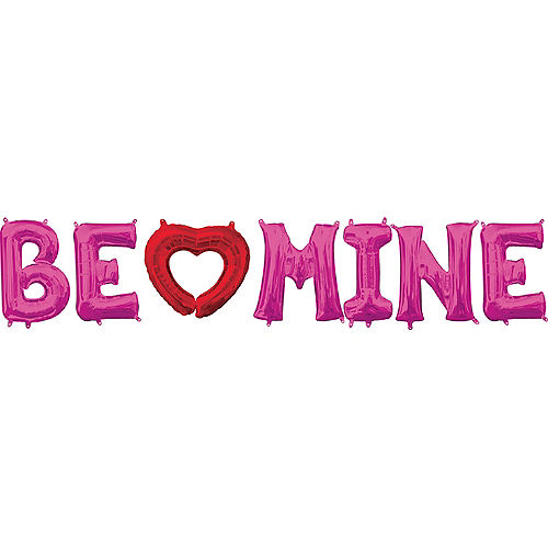 Air-Filled Red Heart & Pink Be Mine Letter Balloon Kit Image #1
