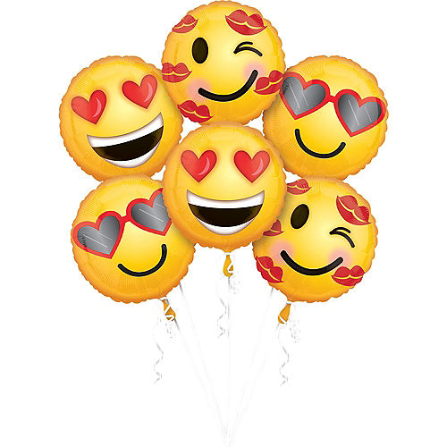 Valentine's Day Smiley Balloons 6ct Image #1