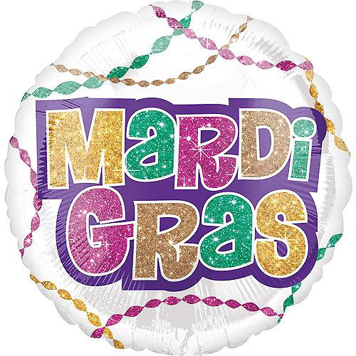 White Mardi Gras Balloon Image #2