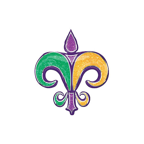Nav Item for Giant Fleur-de-Lis Mardi Gras Balloon, 32in Image #1