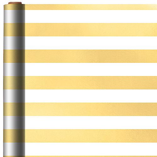 White & Gold Striped Gift Wrap Image #1