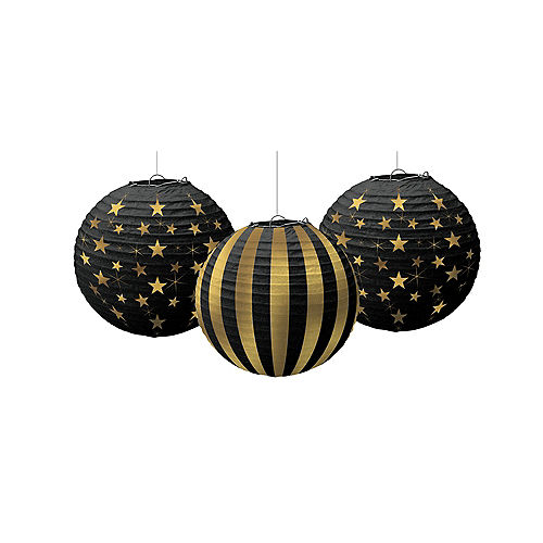 Nav Item for Gold Stars & Stripes Paper Lanterns 3ct Image #1