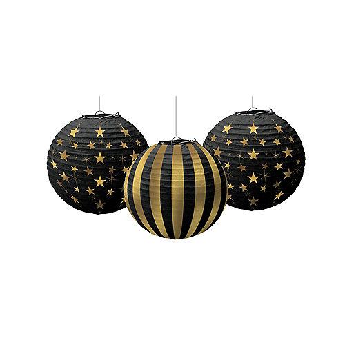 Gold Stars & Stripes Paper Lanterns 3ct Image #1