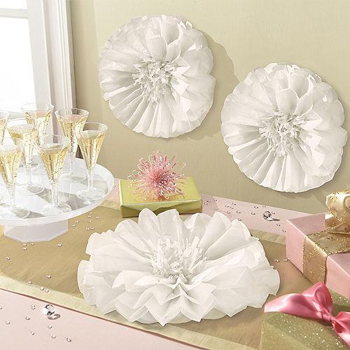 White Flower Tissue Pom Poms 3ct Image #1