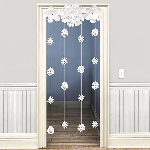 White Flower Doorway Curtain Image #1