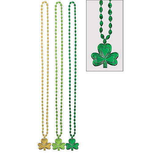St. Patrick's Day Shamrock Pendant Bead Necklaces 3ct Image #1