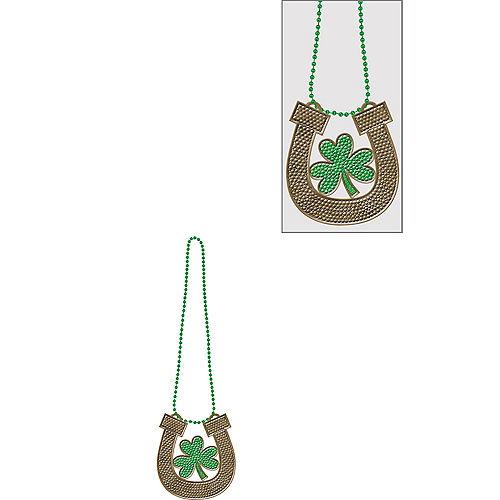 Horseshoe & Shamrock Pendant Bead Necklace Image #1