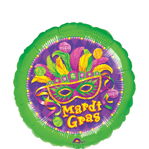 Nav Item for Masquerade Mardi Gras Balloon, 17in Image #1