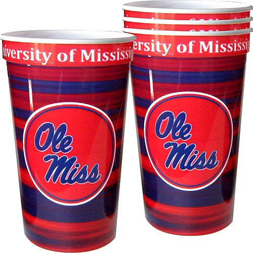 Ole Miss Rebels Plastic Cups 4ct Image #1