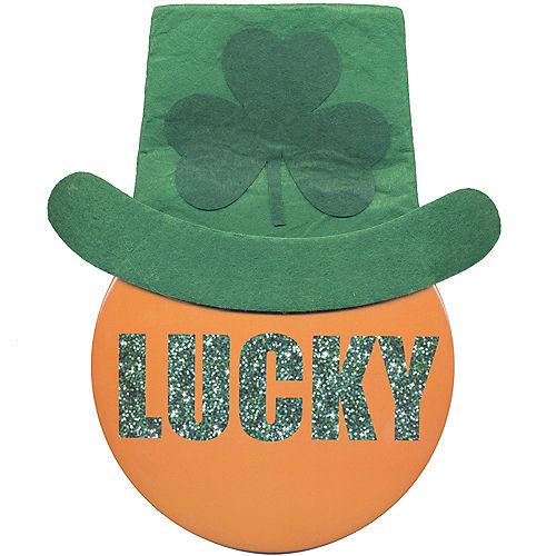 Large Lucky Leprechaun Hat Button Image #1