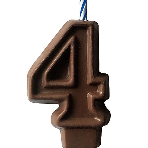 Edible Chocolate Flavored Number 4 Cake Topper with Candle Image #1