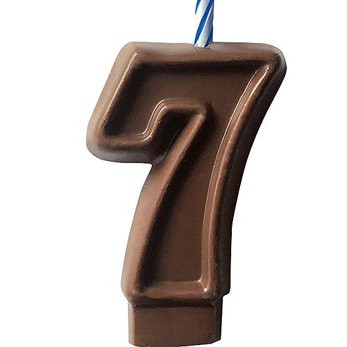 Edible Chocolate Flavored Number 7 Cake Topper with Candle Image #1