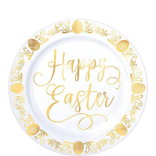 Metallic Gold Easter Premium Plastic Dessert Plates 20ct Image #1