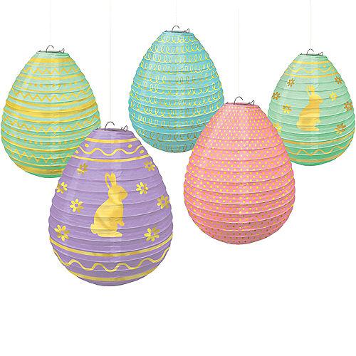 Mini Pastel Easter Egg Paper Lanterns 5ct Image #1