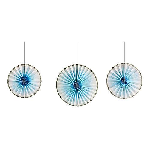 Silver & Blue Ombre Paper Fan Decorations 3ct Image #1