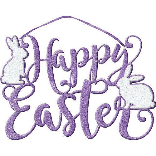 Glitter Purple Happy Easter Sign Image #1