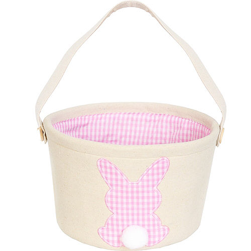 Canvas Pink Plaid Bunny Easter Bucket Image #1
