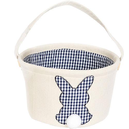 Canvas Dark Blue Plaid Bunny Easter Bucket Image #1