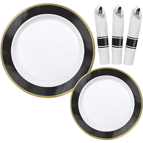 Premium Black Border & Gold Tableware Kit for 20 Guests Image #1
