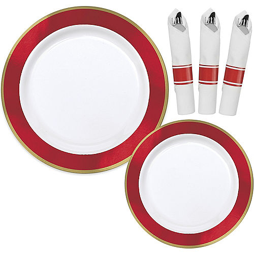 Premium Red Border & Gold Tableware Kit for 20 Guests Image #1