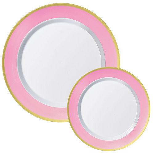 Premium Pink Border & Gold Tableware Kit for 20 Guests Image #2